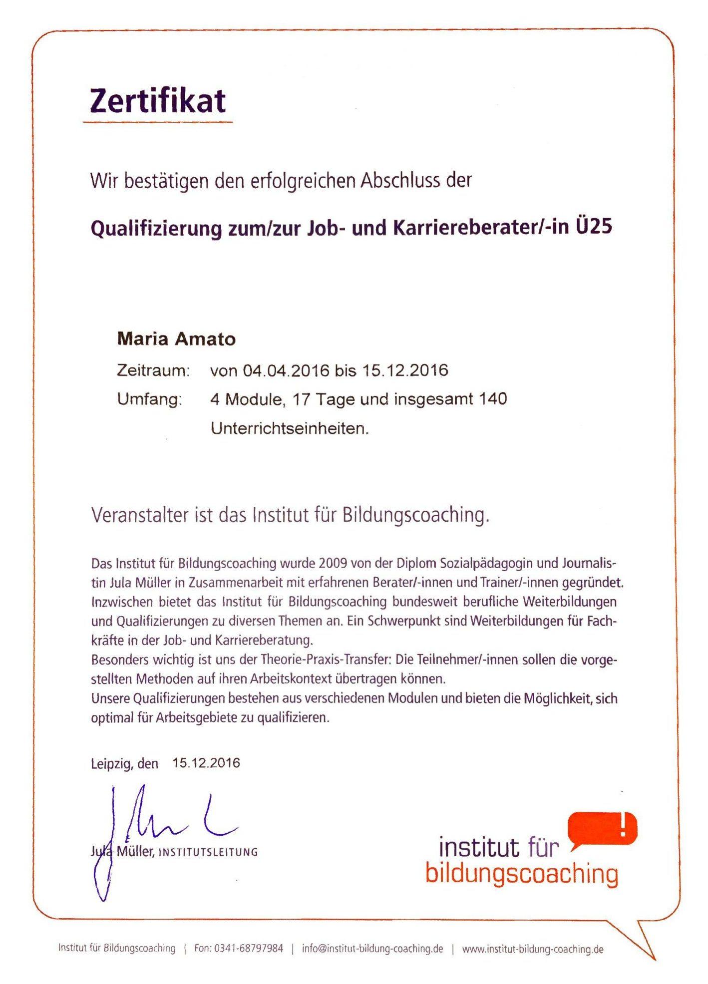 Zertifikat - Qualifizierung zum/zur Job- und Karriereberater Ü25