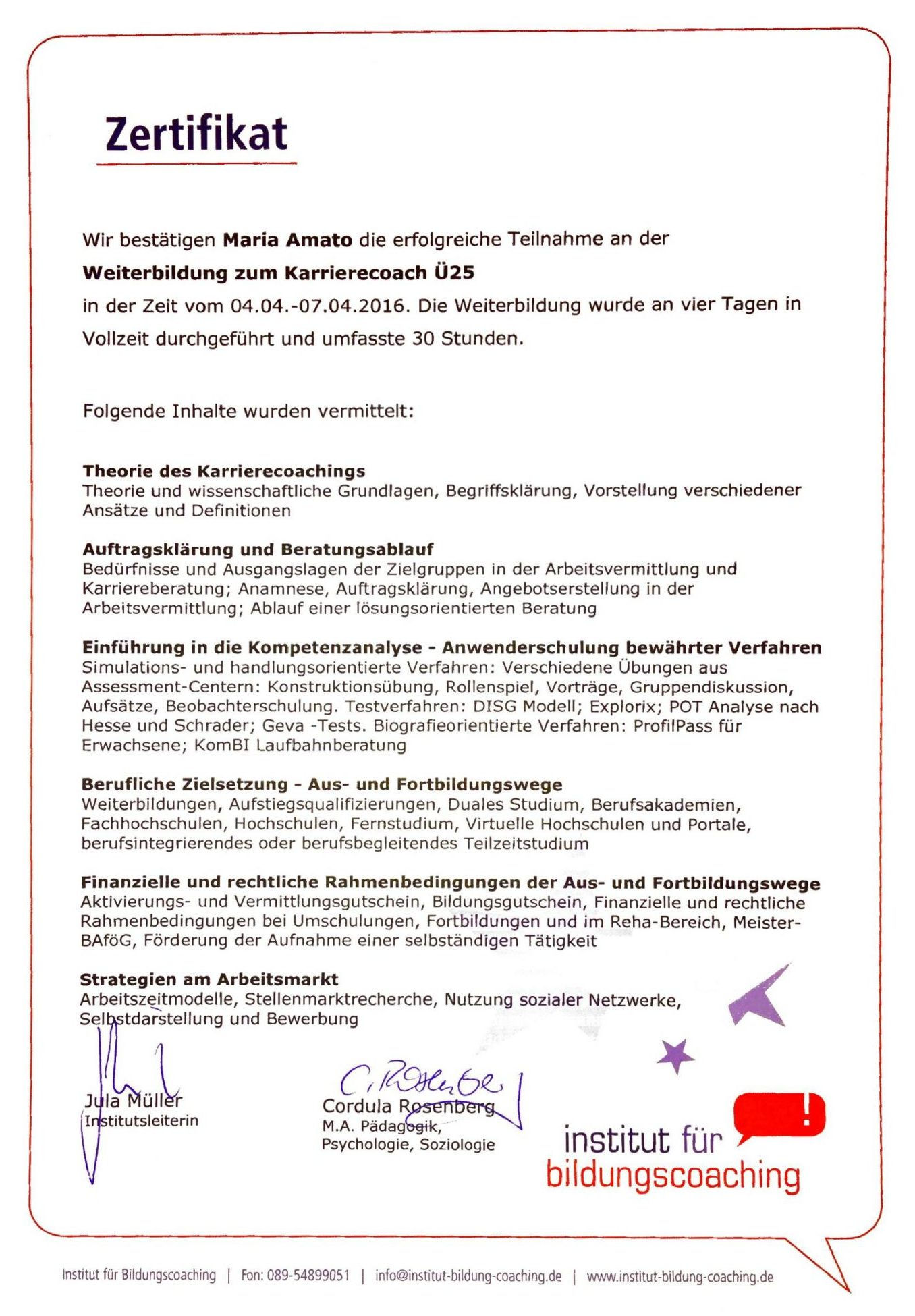 Zertifikat - Weiterbildung zum Karrierecoach Ü25