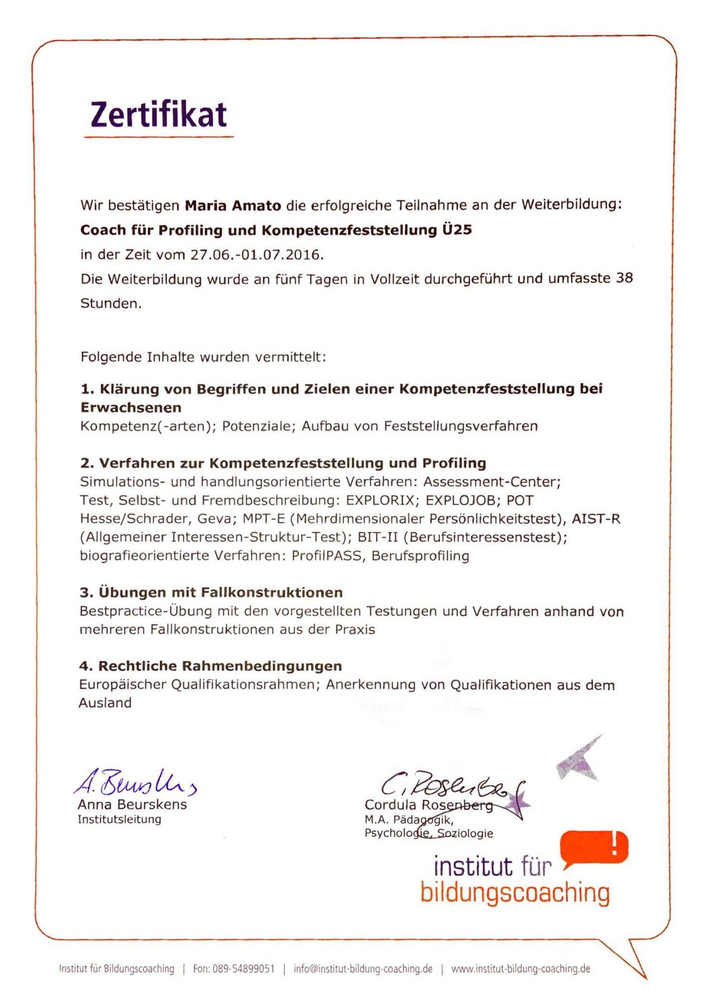 Zertifikat - Coach für Profiling und Kompetenzfeststellung Ü25