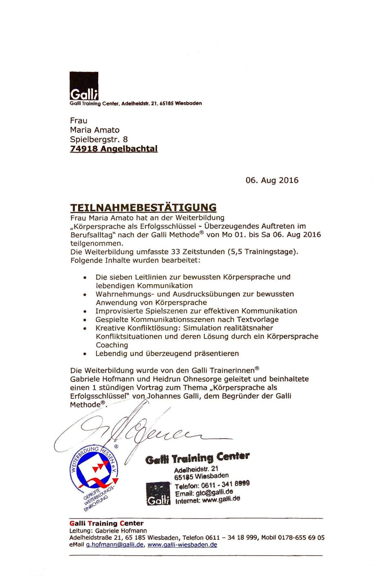 Zertifikat - Körpersprache als Erfolgsschlüssel