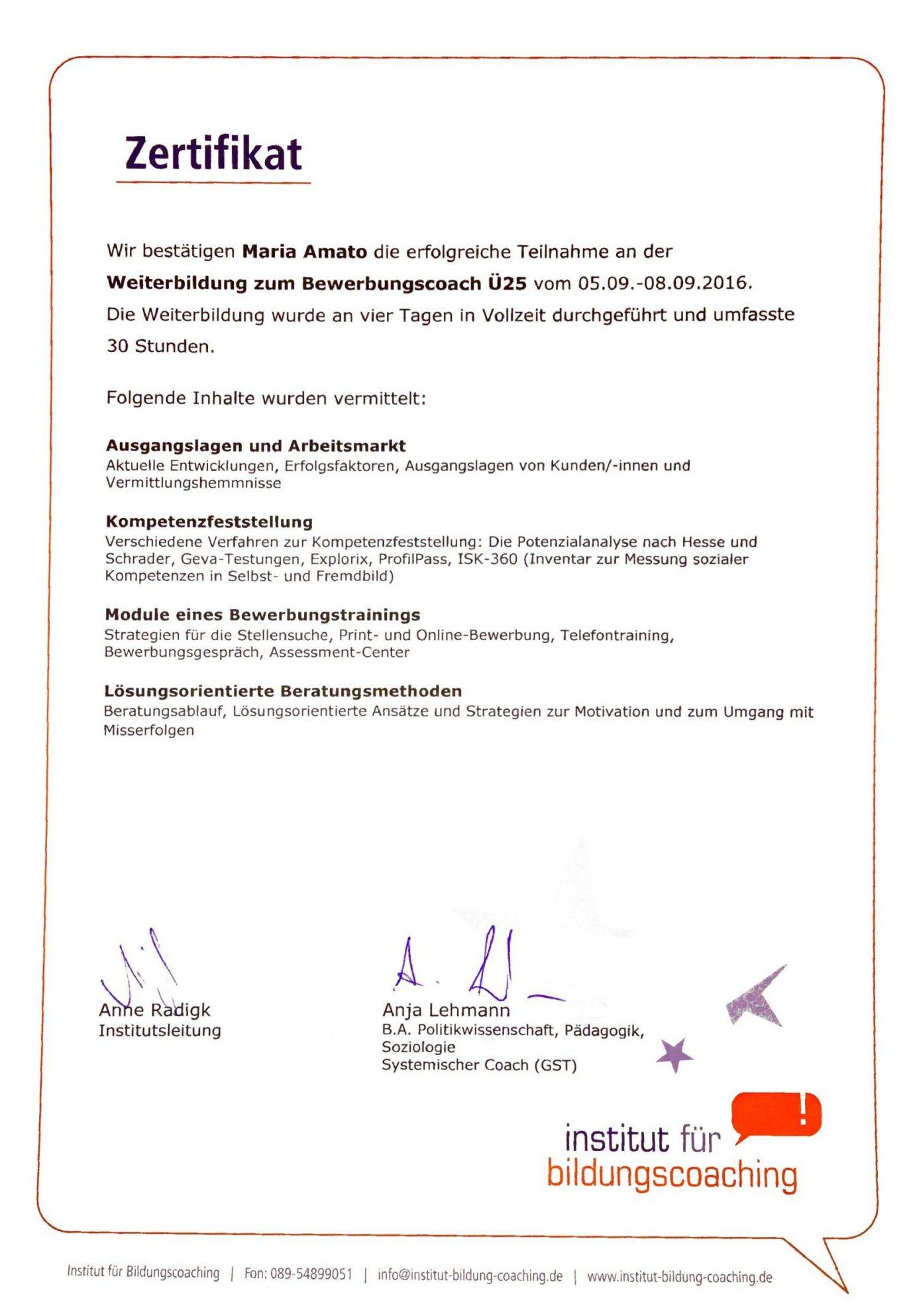 Zertifikat - Weiterbildung zum Bewerbungscoach Ü25