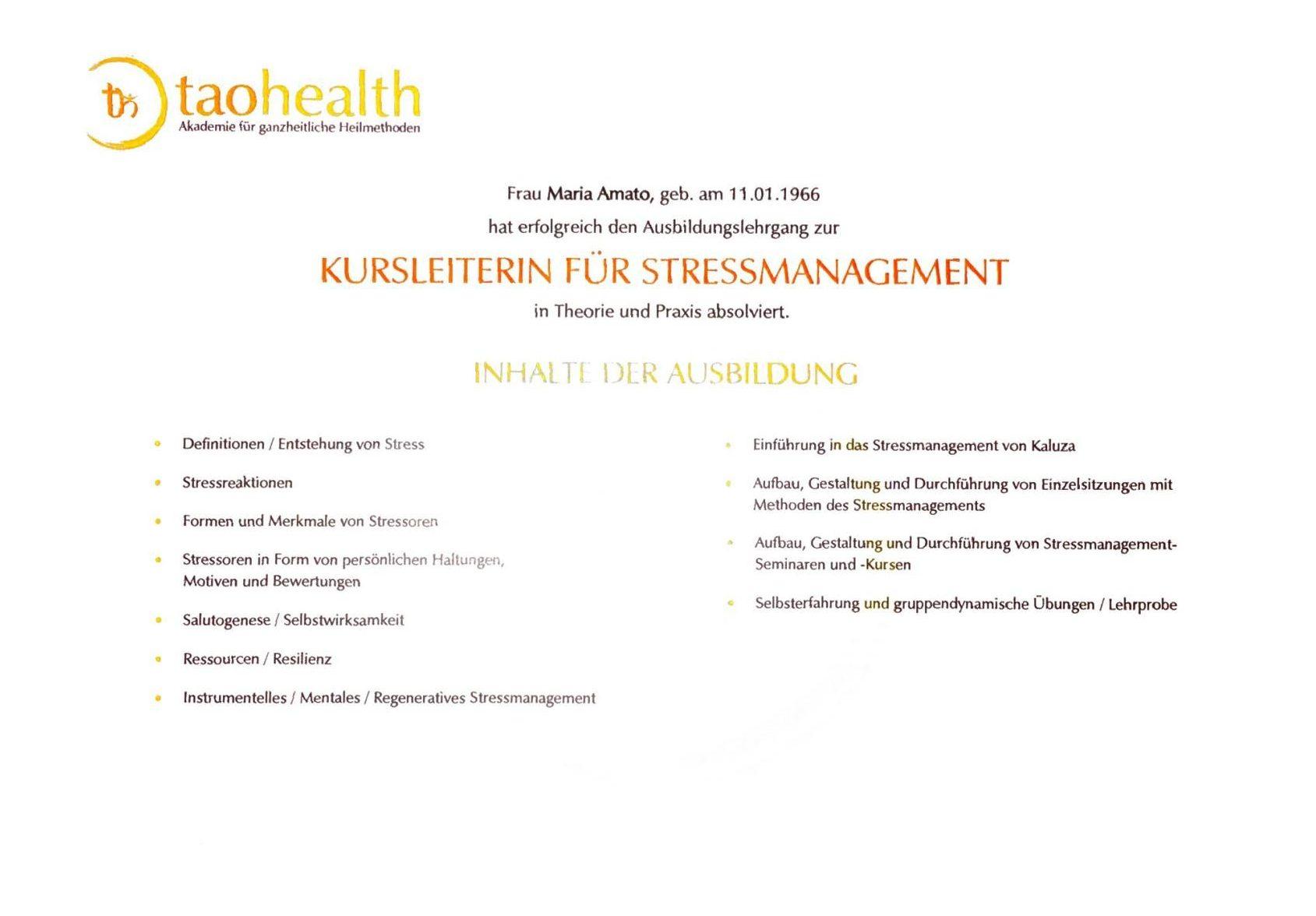 Zertifikat - Kursleiterin für Stressmanagement